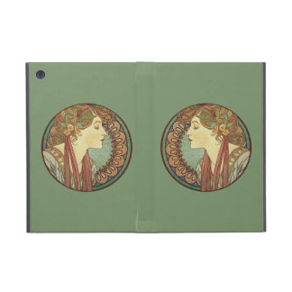 Vintage Art Deco Lady Green Mosaic Tiles Leaves Cover For iPad Mini