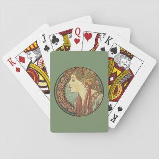 Vintage Art Deco Lady Green Mosaic Tiles Leaves Poker Deck
