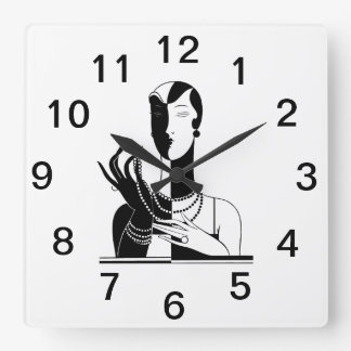 Vintage Art Deco Lady With Pearls Black Transp Square Wall Clock