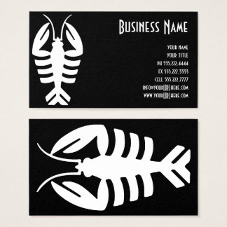 Vintage Art Deco Lobster in White on Black Business Card