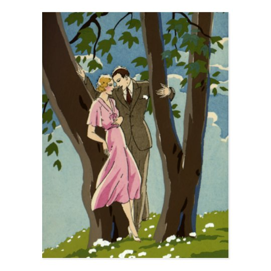 Vintage Art Deco Love and Romance Newlyweds Couple