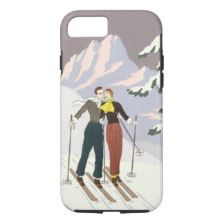 Vintage Art Deco Love and Romance Skiing Newlyweds iPhone 7 Case