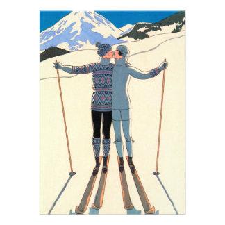 Vintage Art Deco Love Kiss Skis Snow Save the Date Announcements