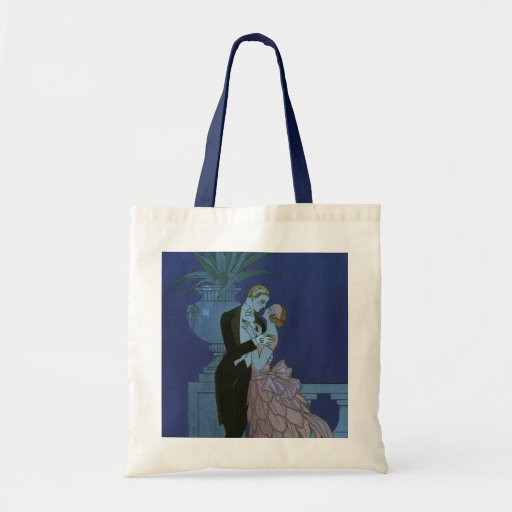Vintage Art Deco Love Romance Newlyweds Wedding Canvas Bag