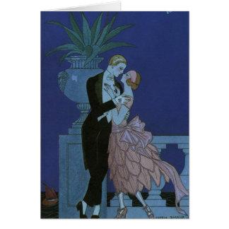 Vintage Art Deco Love Romance Newlyweds Wedding Greeting Card