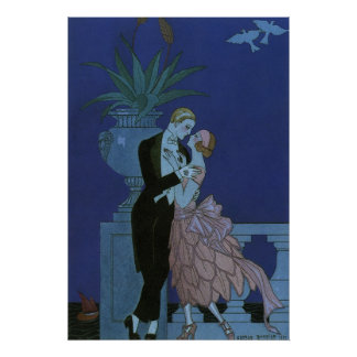 Vintage Art Deco Love Romance Newlyweds Wedding Poster