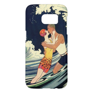 Vintage Art Deco Love Romantic Kiss Beach Wave