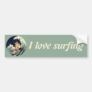 Vintage Art Deco Love Romantic Kiss Beach Wave Bumper Sticker