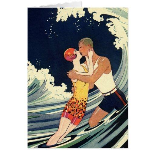 Vintage Art Deco Love Romantic Kiss Beach Wave Card