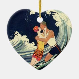 Vintage Art Deco Love Romantic Kiss Beach Wave Ceramic Heart Decoration