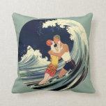 Vintage Art Deco Love Romantic Kiss Beach Wave Pillows