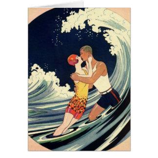 Vintage Art Deco Love Romantic Kiss Beach Wave Greeting Card