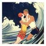 Vintage Art Deco Love Romantic Kiss Beach Wave Custom Invitation