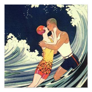 Vintage Art Deco Love Romantic Kiss Beach Wave Custom Announcements