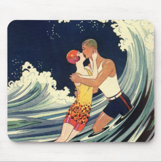Vintage Art Deco Love Romantic Kiss Beach Wave Mouse Pad