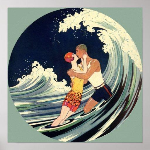 Vintage Art Deco Love Romantic Kiss Beach Wave Poster