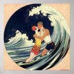 Vintage Art Deco Love Romantic Kiss Beach Wave Print