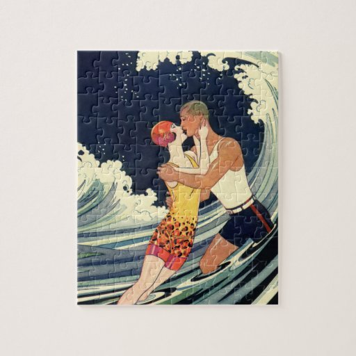 vintage art deco love romantic kiss beach wave jigsaw