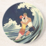 Vintage Art Deco Love Romantic Kiss Beach Wave Sandstone Coaster
