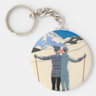 Vintage Art Deco Love Romantic Kiss on Skis Snow Basic Round Button Key Ring