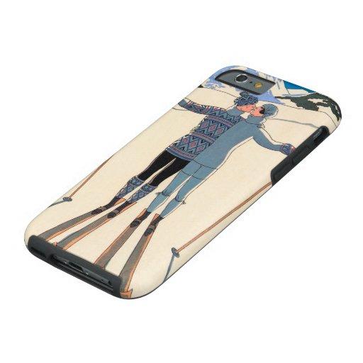 Vintage Art Deco Love Romantic Kiss on Skis Snow Tough iPhone 6 Case