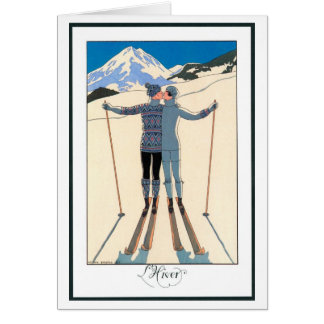 Vintage Art Deco Love Romantic Kiss on Skis Snow Greeting Card