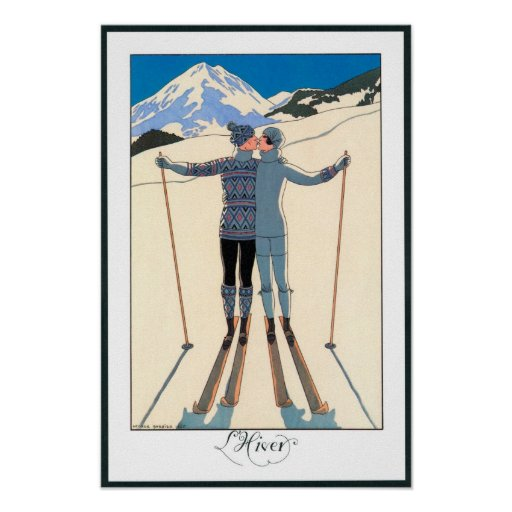 Vintage Art Deco Love Romantic Kiss on Skis Snow Poster