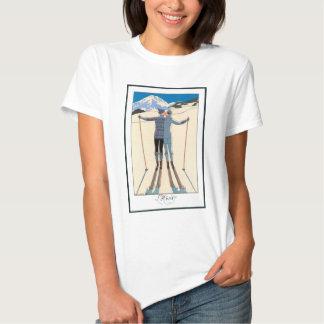 Vintage Art Deco Love Romantic Kiss on Skis Snow Shirt