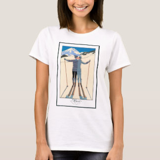 Vintage Art Deco Love Romantic Kiss on Skis Snow T-Shirt