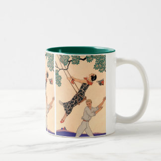 Vintage Art Deco Love, The Swing by George Barbier Two-Tone Coffee Mug