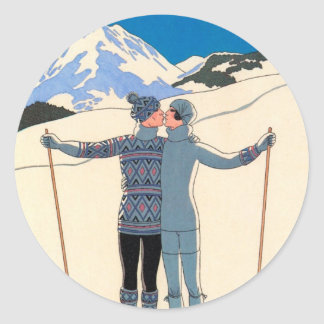 Vintage Art Deco, Lovers in Snow by George Barbier Classic Round Sticker