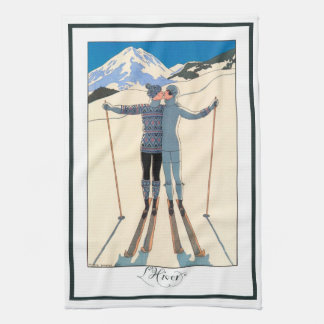 Vintage Art Deco, Lovers in Snow by George Barbier Kitchen Towels