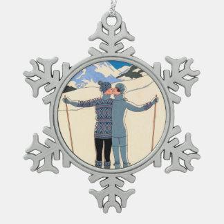 Vintage Art Deco, Lovers in Snow by George Barbier Pewter Snowflake Decoration