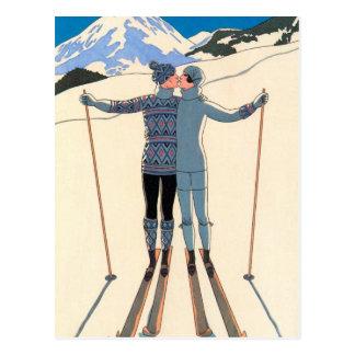 Vintage Art Deco, Lovers in Snow by George Barbier Postcard