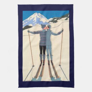 Vintage Art Deco, Lovers in Snow by George Barbier Tea Towel