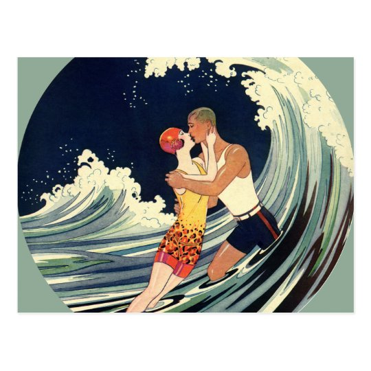Vintage Art Deco, Lovers Kiss at the Beach Postcard