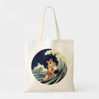 Vintage Art Deco Lovers Kiss in the Waves at Beach