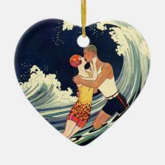 Vintage Art Deco Lovers Kiss in the Waves at Beach Christmas Ornament