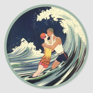 Vintage Art Deco Lovers Kiss in the Waves at Beach Classic Round Sticker