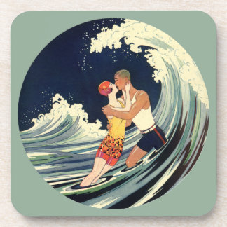 Vintage Art Deco Lovers Kiss in the Waves at Beach Coaster