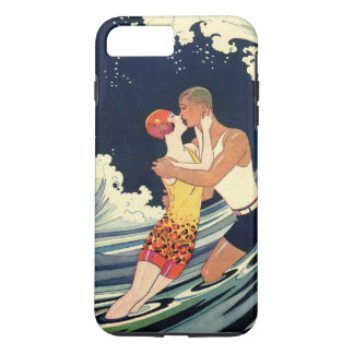 Vintage Art Deco Lovers Kiss in the Waves at Beach iPhone 8 Plus/7 Plus Case