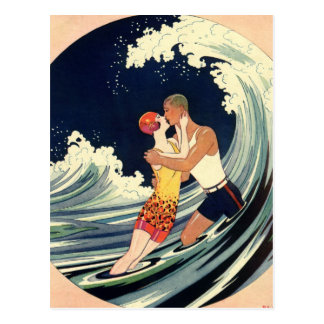 Vintage Art Deco Lovers Kiss in the Waves at Beach Postcard