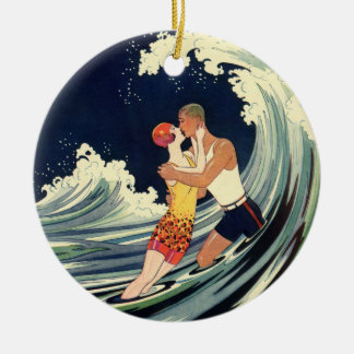 Vintage Art Deco Lovers Kiss in the Waves at Beach Round Ceramic Decoration