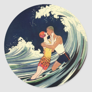 Vintage Art Deco Lovers Kiss in the Waves at Beach Round Sticker