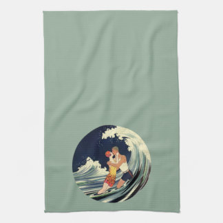 Vintage Art Deco Lovers Kiss in the Waves at Beach Tea Towels
