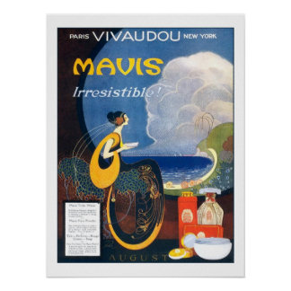 Vintage Art Deco Mavis Perfume 1920 Advertising Poster