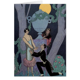 Vintage Art Deco Moonlight Love Triangle Note Card