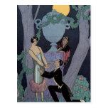 Vintage Art Deco Moonlight Love Triangle Post Card
