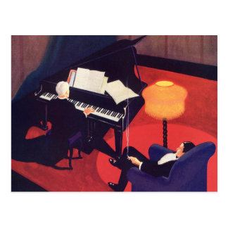 Vintage Art Deco Music Lounge Piano Player Pianist Postcard