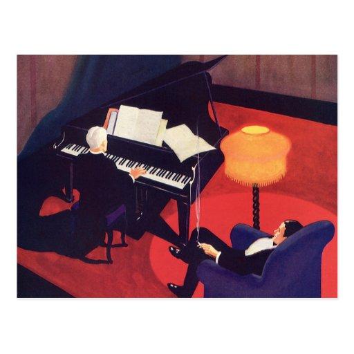 Vintage Art Deco Music Lounge Piano Player Pianist Postcard